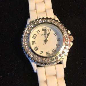 Geneva White Plastic Band Watch